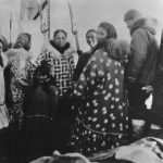 Inuit group on aft deck, 1944.